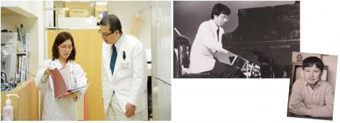 (中央)学生時代には、『題名のない音楽会』(テレビ朝日系列)でピアノの腕を披露したこともある。(右)9歳ごろの写真。「医師になる」という夢にはまだ出会っていなかった。「遊んでばかりでした」と当時を振り返る。(左)手術や外来診療で忙しい毎日だが、その合間を縫って、若い医師やスタッフの相談にも気軽に応じる。