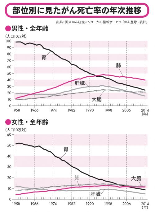 男女別に見た、肺がん死亡率の年次推移